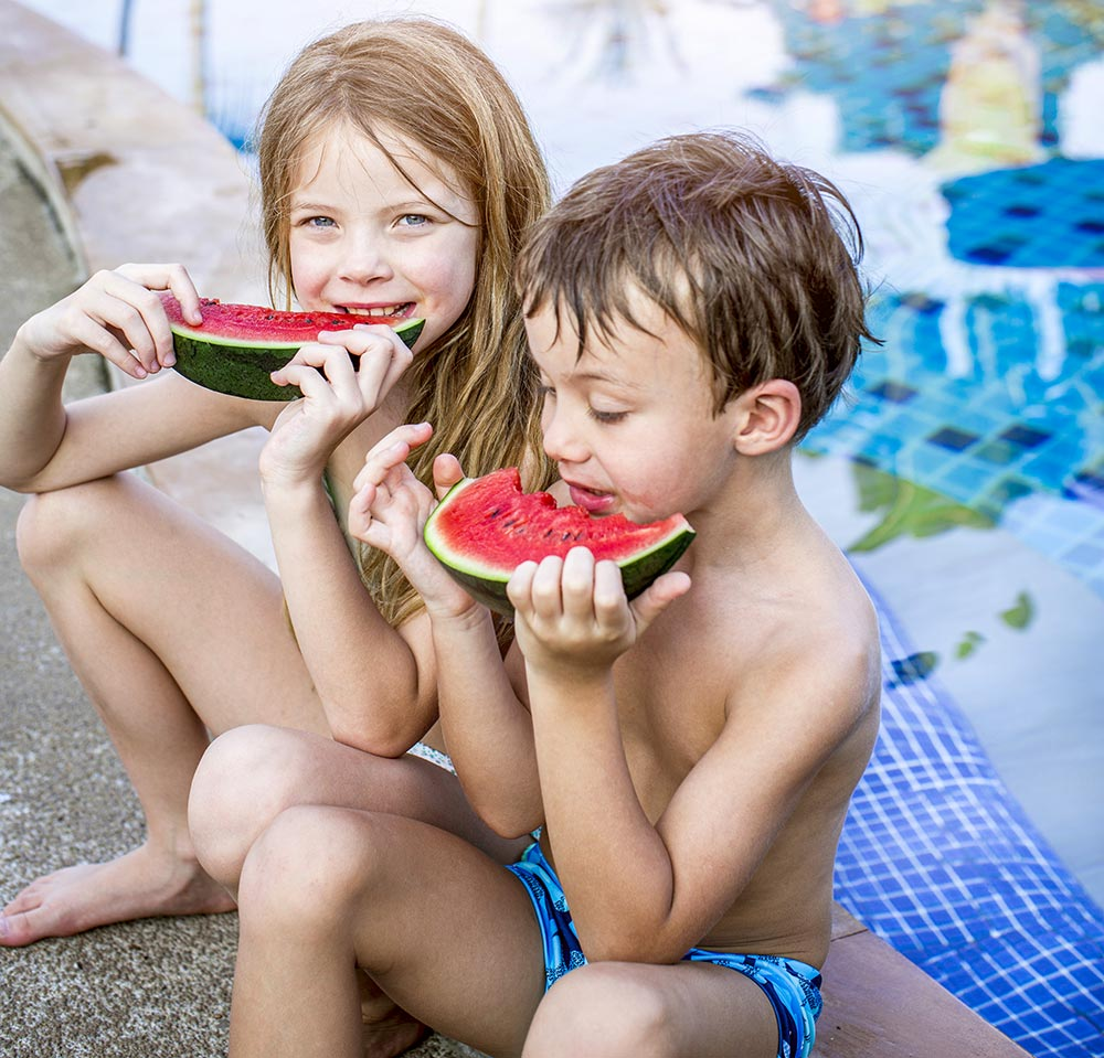 children eat watermelon