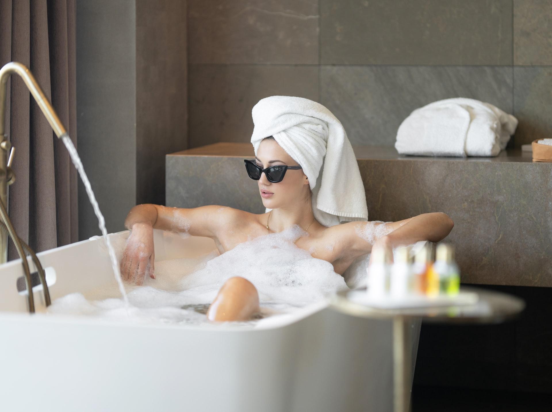woman enjoying bath